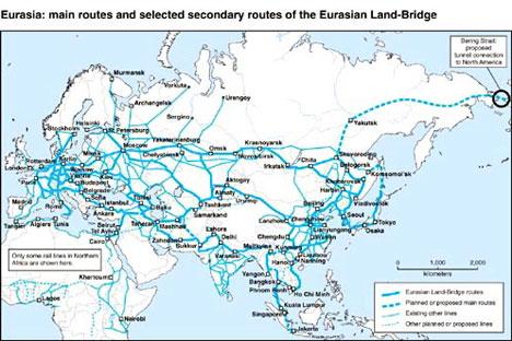 Mapa de Eurasia enfatizando su faceta geopolítica como puente.