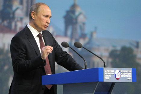 Vladímir Putin en el Foro Económico Internacional de San Petersburo. Fuente: ITAR-TASS.