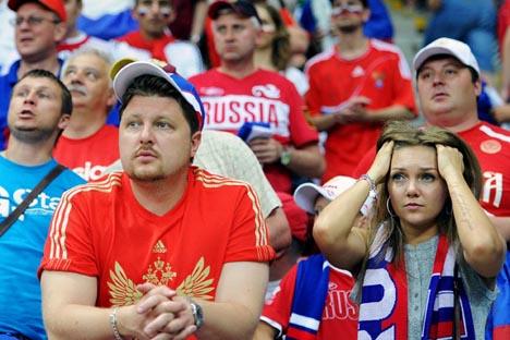 Aficionados rusos en un partido de su selección. Fuente: ITAR-TASS