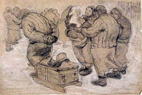 ´Caminando con nuestros niños´,Nadezhda Borovaya. Dibujo a lápiz. Fuente: Savitskycollection.org