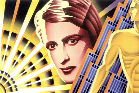 Pintura de Nick Gaetano representando a Ayn Rand. Fuente: Web del artista.