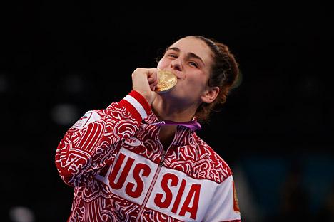 Natalia Vorobiova en el podio. Fuente: Reuters.