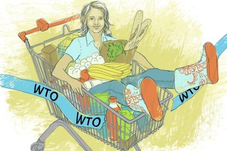 La OMC enseña a Rusia a adaptarse a las leyes del mercado global. Dibujo de Natalia Mijailenko.
