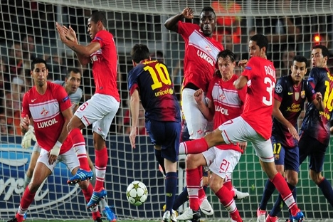 Leo Messi desequilibró con dos goles el duelo ante el Spartak. Fuente: UEFA.com