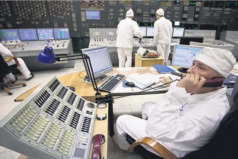 El departamento de control de la central nuclear. Fuente: ITAR-TASS.