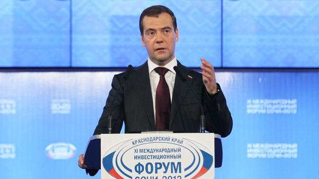 El Primer Ministro Dmitri Medvédev durante el Foro de Inversiones de Sochi. Fuente: AP.