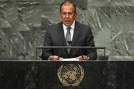 Serguéi Lavrov en la 67º Asamblea de Naciones Unidas. Fuente: AFP/East News.