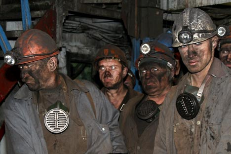 Los trabajadores de la mina de carbón. Fuente: ITAR-TASS.