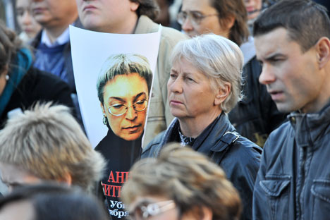 Ciudadanos rusos recuerdan a la periodista asesinada. Fuente. ITAR-TASS.