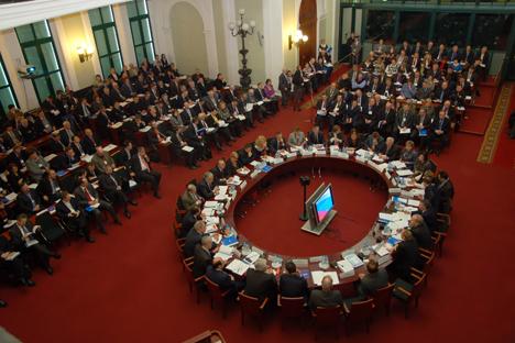 """El Foro empresarial denominado """"Colombia, país de oportunidades"""", en la Cámara de Industria y Comercio de Moscú. Fuente: Lori / LegionMedia."""