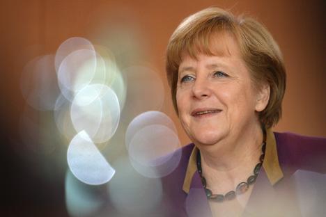 Angela Merkel llega a Moscú. Fuente: AP