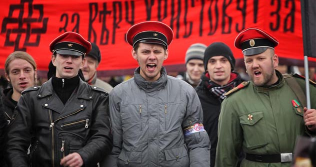 Participantes en la 'Marcha Rusa' de Moscú. Fuente: Ricardo Marquina Montañana