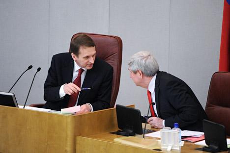 El portavoz de la Duma, Serguéi Narishkin (a la izquierda) fue uno de los iniciadores del proyecto de ley en repuesta a la 'ley Magnitski' estadounidense. Fuente: ITAR-TASS