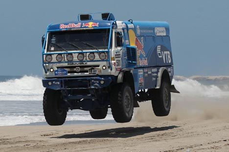When Andrei Karginov's KAMAZ truck crossed the finish line, the entire team was shocked.  Source: AP.