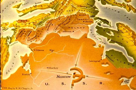 El mapa de Europa visto desde Moscú. Fuente: la revista Time, publicado el 10 de marzo de 1952