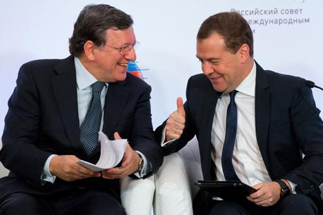 La cita en la que participaron Dmitri Medvédev y José Manuel Barroso estaba  acordada antes del estallido de la crisis en Chipre. Fuente: AP