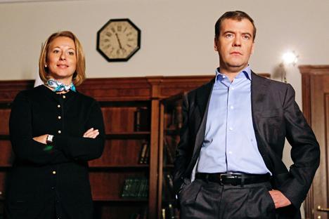 Natalia Timakova, secretaria de prensa del primer ministro Dmitri Medvédev, habla sobre los políticos y el papel de la mujer. Fuente: ITAR-TASS