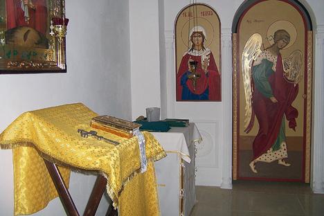 Interior de la parroquia ortodoxa rusa de la Anunciación de la Santísima Virgen, en el barrio de Vallcarca de Barcelona. Fuente: Maite Montroi