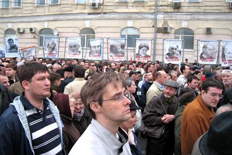 Piden la retirada de cargos contra los detenidos el año pasado, en el aniversario de la vuelta al poder de Putin. Fuente: Yulia Ponomarieva