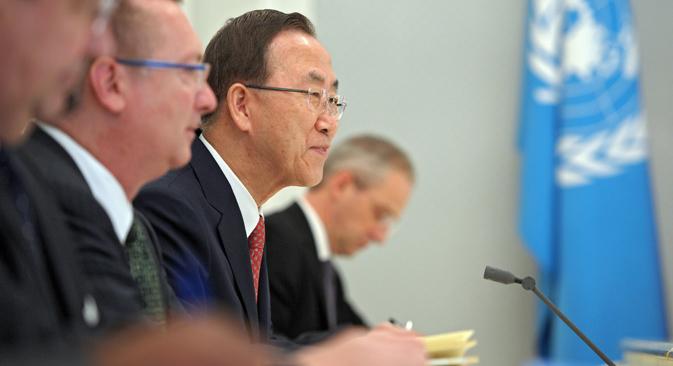 El secretario general de la ONU se reunió en Sochi con Vladímir Putin y Serguéi Lavrov, ministro de Asuntos Exteriores de la Federación. Fuente: Alekséi Druzhini / Ria Novosti
