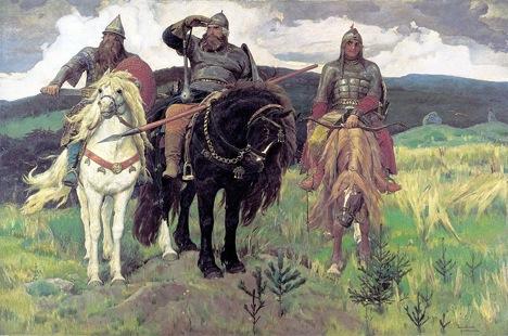 """""""Os Bogatirs"""", de Viktor Vaznetsov, impressiona por seu tamanho: 295,3 cm X 446 cm Foto: wikipedia"""