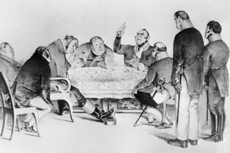 """Una ilustración de la comedia """"El Inspector"""" (""""Revisor"""") del escritor ruso Nikolái Gogol (1809-1852) que narra sobre la corrupción en la Rusia Imperial. Fuente: ITAR-TASS"""