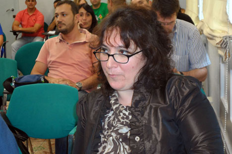 Lela Janashvili, en el seminario que tuvo lugar en el Instituto de Ciencias Políticas y Sociales de Barcelona. Fuente: Maite Montroi