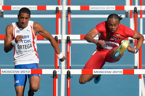 Orlando Ortega (L) and Aries Merritt  during the World Athletics Championship in Moscow. Source: AP
