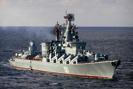 """Crucero de misiles """"Moscú"""" que llegó al puerto de Corinto en Nicaragua. Fuente: Mil.ru"""