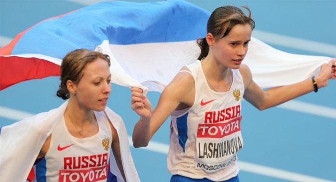 Lashmanova y Kirdyapkina, oro y plata en los 20 kms. marcha. Fuente: mos2013.ru.