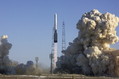 """Atualmente, o maior foguete russo em operação é o """"Próton"""", com uma massa de carga útil de 23 toneladas no transporte para a órbita baixa e de 3,7 toneladas para a órbita geoestacionária Foto: AP"""