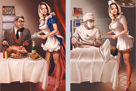 Ruski ilustrator Valerij Barikin uspešno združuje stare »Pin Up Girls« in sovjetsko umetniško propagando.