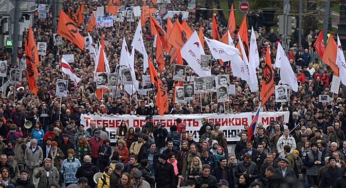 El movimiento de protesta disminuye y envejece. Entre 5.000 y 7.000 personas acudieron el pasado domingo una manifestación de protesta. Fuente: Evgueni Biiátov / Ria Novosti