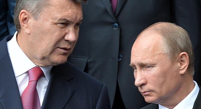 Viktor Yanukóvich y Vladímir Putin durante un encuentro bilateral. Fuente: AFP / East News