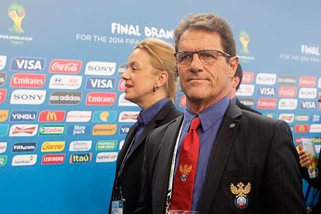 Fabio Capello, seleccionador de Rusia, en el sorteo de grupos. Fuente: AP.