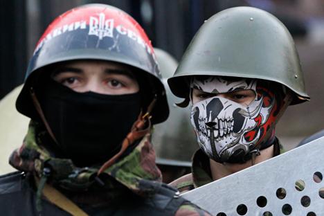 Partidarios del movimiento neofascista Sector de Derechas. Fuente: Reuters