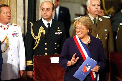 Michelle Bachelet en la ceremonia de inauguración como presidenta. Fuente: Reuters