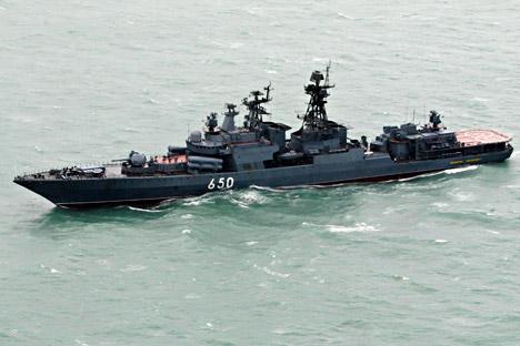 """El buque antisubmarino """"Almirante Chabanenko"""". Fuente: AP"""