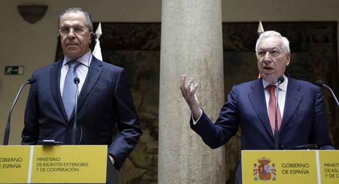 El ministro de Asuntos Exteriores ruso y su homólogo español José Manuel García Margallo, ofrecen en Madrid una rueda de prensa conjunta. Fuente: Reuters