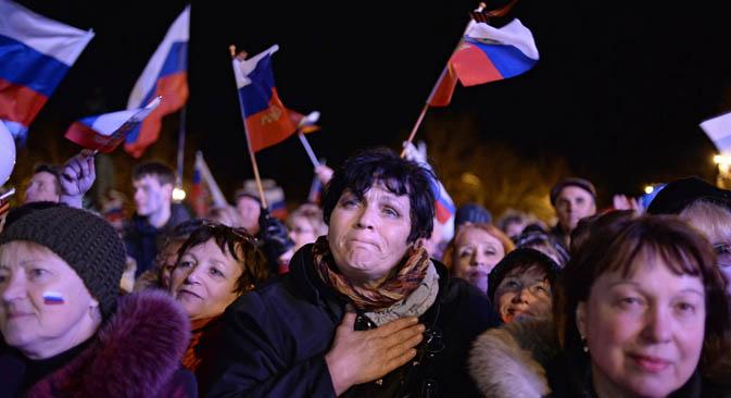 Habitantes de Crimea después del referéndum, marzo 2014. Fuente: Valeri Mélnikov/RIA Novosti