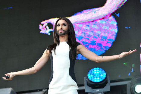 "Austrian transvestite Conchita Wurst has agreed to come to Moscow for an ""after-party"" competition. Source: Photoshot / Vostock-Photo"
