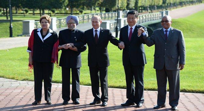 Los líderes del grupo BRICS durante la cumbre del G20 celebrada en San Petersburgo el año pasado. Fuente: RG