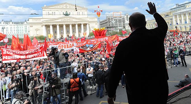 Millones de trabajadores asistían a las manifestaciones del 1 de mayo en todo el país. Fuente: RIA Novosti / Kirill Kalínnikov