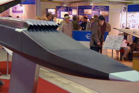 Un estatorreactor de combustión supersónica en la exposición MAKS-2009. Fuente: archivo