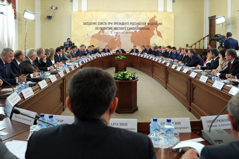 May 26, 2014. Russian President Vladimir Putin, background, center, holds a meeting of the Presidential Council for the Local Self-Government Development in Ivanovo. Source: RIA Novosti