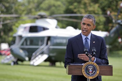 O presidente dos Estados Unidos, Barack Obama, disse que o governo americano decidiu introduzir novas sanções porque a Rússia não muda sua política em relação à Ucrânia e continua a apoiar os separatistas do leste Foto: AP
