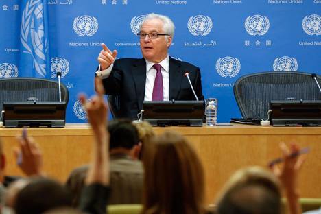 Entrevista a Vitali Churkin, representante permanente de Rusia en la ONU. Fuente: Reuters