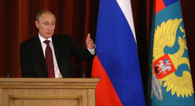 Segundo Pútin, presidente ucraniano assumiu a responsabilidade por continuidade do derramamento de sangue no leste do país Foto: Ministério dos Negócios Estrangeiros