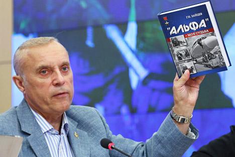 Serguéi Goncharov durante la presentación de un libro sobre el grupo Alfa. Fuente: ITAR-TASS.