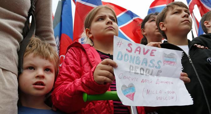 Una manifestación de apoyo a los separatistas del este de Ucrania en Moscú. Fuente: Serguéi Karpujin/Reuters.